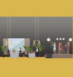 musicians in restaurant in vector image vector image
