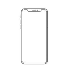 outline line drawing modern smartphone elegant vector image vector image