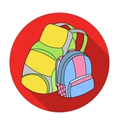 Pair of travel backpacks icon in flat style vector image