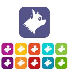 Pinscher dog icons set vector