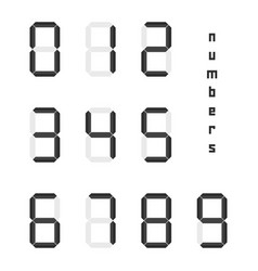 set of black simple digital numbers vector image