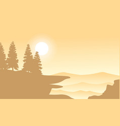 silhouette of spruce on mountan background vector image