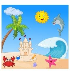 Summer beach cartoon vector