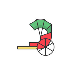 Traditional chinese rickshaw filled outline icon vector