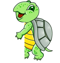 turtle with blank sign vector image vector image