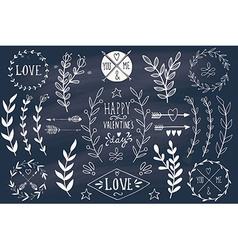 Valentines day design elements on blackboard vector