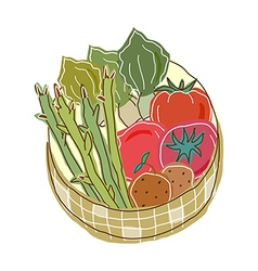 Vegetables in a basket vector image vector image