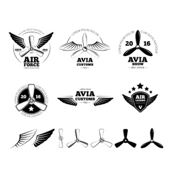 Vintage airplane labels emblems and vector image vector image