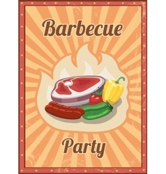 Vintage BBQ poster Grill restaurant vector image vector image
