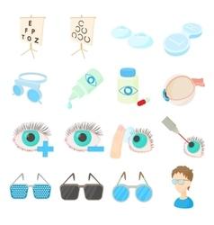 Vision correction icons set cartoon style vector
