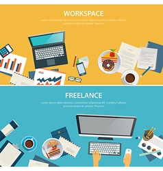 workspace and freelance banner flat design vector image vector image