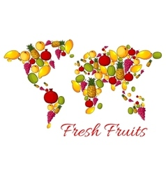 World map of fresh fruits vector