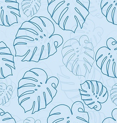 Monstera outlines leaves seamless pattern vector