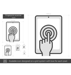 Fingerprint scanner line icon vector