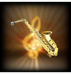 Saxophone on a blurred background treble clef vector