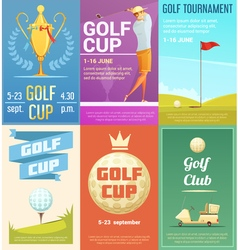 Golf Club 6 Retro Posters Set vector image