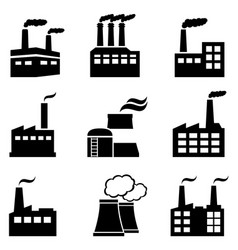 Industrial buildings factories and power plants vector