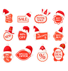 Sale and discounts labels with percents collection vector