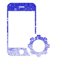 Smartphone setup gear textured icon vector