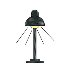 Drawing desk lamp light bulb electricity object vector