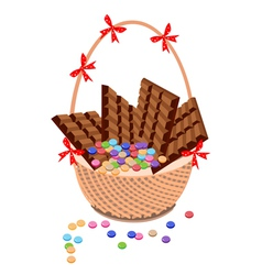 Brown basket of milk chocolate and chocolates bar vector
