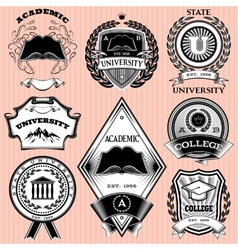 Set of templates for emblem in education vector