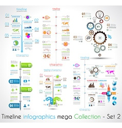 Timeline infographic design templates set 2 vector