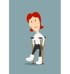 Injured woman with broken legs on crutches vector