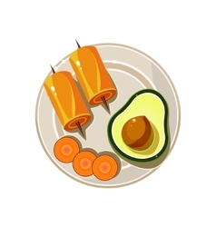 Avocado rolls and carrot served food vector