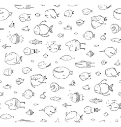 Cartoon seamless pattern funny childish fish black vector
