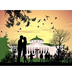 Tourists walk in the park ostankino estate vector