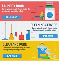 Three banners laundry and cleaning vector