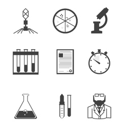 Black icons for microbiology vector