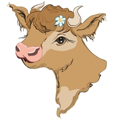 Brown cow head with a flower in her hair side vector