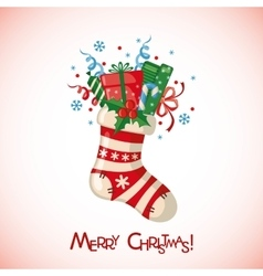 Christmas card with sock full of gifts vector image vector image