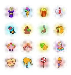 Circus comics icons set vector