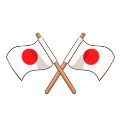 Crossed flags of japan icon cartoon style vector