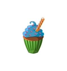 Cute cupcake with blue cream vector