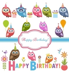 Cute owlets and owls on birthday party vector
