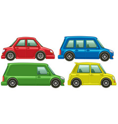 different types of cars in four colors vector image