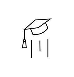 End of education flying mortarboard icon vector