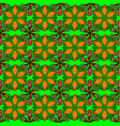flowers on green orange and black colors hand vector image vector image