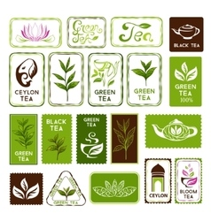 Green and black tea stamps vector
