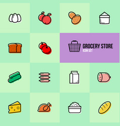 grocery store set icons design vector image