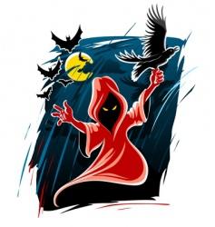 Halloween midnight ghost vector