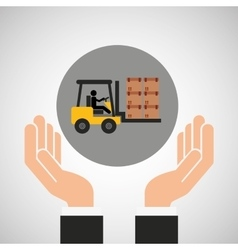 Hand delivery service forklift truck boxes graphic vector