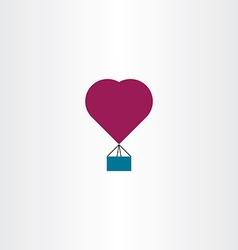 Hot air balloon heart icon symbol vector