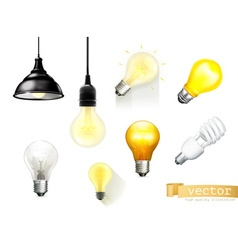 Light bulbs set of icons vector image