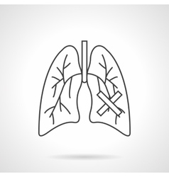Lungs diseases flat line icon vector