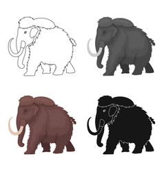 mammoth icon in cartoon style isolated on white vector image vector image